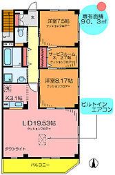 東京都足立区谷中1丁目の賃貸マンションの間取り