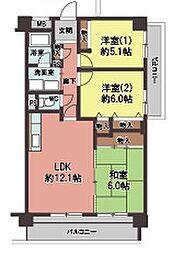 大阪府大阪市平野区長吉長原西2丁目の賃貸マンションの間取り