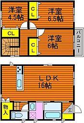 [一戸建] 岡山県倉敷市沖 の賃貸【/】の間取り