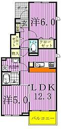 千葉県松戸市小金原2丁目の賃貸アパートの間取り