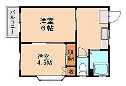 福岡県福岡市城南区田島1丁目の賃貸アパートの間取り