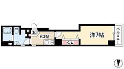 ソフィスサクラヤマ 7階1Kの間取り