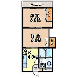 ビビッドマンション原口[105号室]の間取り