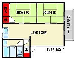 福岡県春日市下白水南1丁目の賃貸アパートの間取り