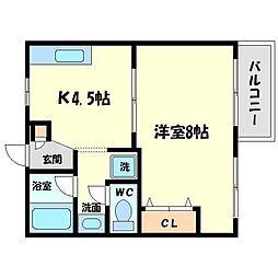 大阪府箕面市粟生外院1丁目の賃貸マンションの間取り