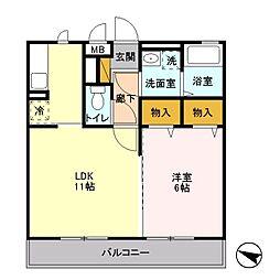 戸塚区平戸町 パークアベニュー202号室[202号室]の間取り