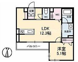 広島電鉄宮島線 修大協創中高前駅 徒歩4分の賃貸マンション 2階1LDKの間取り
