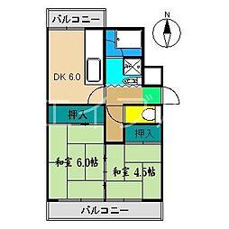 市川マンションI(北新田)[4階]の間取り