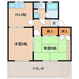 コーポYAMAI[2-B号室]の間取り