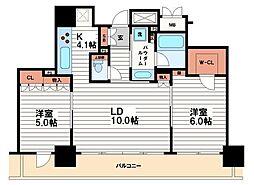 ブランズタワー・ウェリス心斎橋NORTH[22階]の間取り