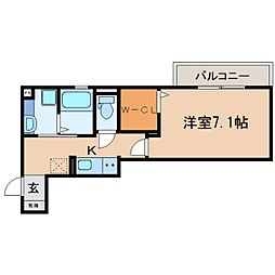 JR東海道本線 静岡駅 徒歩10分の賃貸アパート 2階1Kの間取り