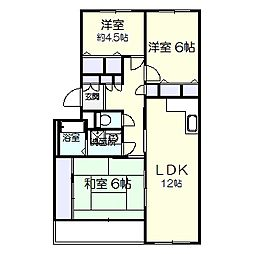 ガーデンヒルズ六高台B棟[302号室]の間取り