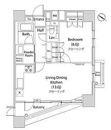 ファーストリアルタワー新宿 28階1LDKの間取り