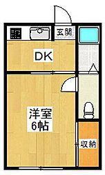 東京都世田谷区砧8丁目の賃貸アパートの間取り