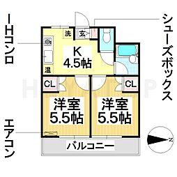 ハイム戸部[2階]の間取り