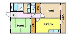 兵庫県芦屋市津知町の賃貸アパートの間取り