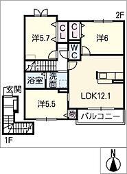 ボナール ソフィア[2階]の間取り