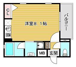 Osaka Metro谷町線 守口駅 徒歩1分の賃貸マンション 1階ワンルームの間取り