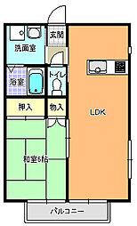 デュオコートノザキ A棟[102号室]の間取り