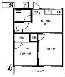 東京都目黒区下目黒6丁目の賃貸アパートの間取り