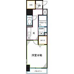 JR中央本線 国分寺駅 徒歩4分の賃貸マンション 3階1Kの間取り