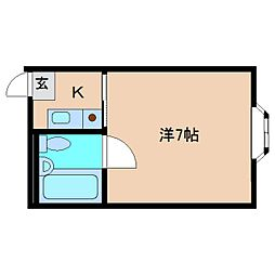 近鉄南大阪線 高田市駅 徒歩6分の賃貸マンション 2階1Kの間取り