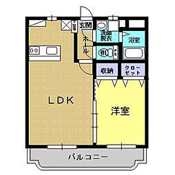 JR日豊本線 加治木駅 徒歩6分の賃貸マンション 2階1LDKの間取り