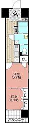エンクレスト渡辺通II(1401)[1401号室]の間取り