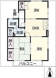 愛知県半田市北二ツ坂町3の賃貸アパートの間取り