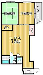 Osaka Metro長堀鶴見緑地線 門真南駅 徒歩18分の賃貸マンション 2階2LDKの間取り