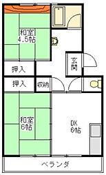 上浜団地[4階]の間取り