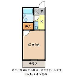 長野県長野市大字鶴賀の賃貸アパートの間取り