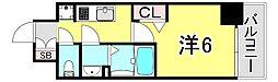 JR山陽本線 兵庫駅 徒歩2分の賃貸マンション 8階1Kの間取り
