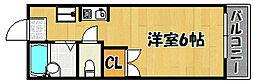 神鉄粟生線 緑が丘駅 バス8分 センター前下車 徒歩7分の賃貸アパート 2階1Kの間取り