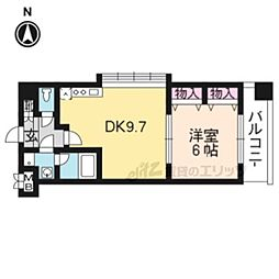 JR東海道・山陽本線 山科駅 徒歩9分の賃貸マンション 7階1LDKの間取り