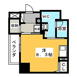 パークアクシス新栄 9階ワンルームの間取り