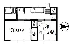第一中井荘[201号室]の間取り