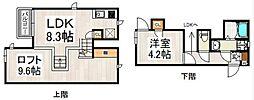 福岡県福岡市東区千早4丁目の賃貸アパートの間取り