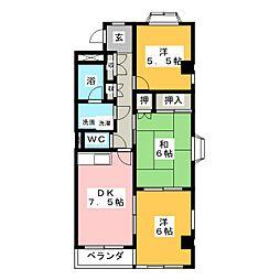 グランドヒルズ一番館B[4階]の間取り