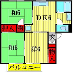 埼玉県越谷市大房の賃貸アパートの間取り