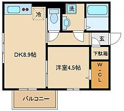 大阪府泉佐野市鶴原の賃貸アパートの間取り