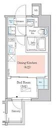 東京メトロ東西線 木場駅 徒歩4分の賃貸マンション 13階1DKの間取り
