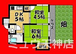 福岡県福岡市中央区御所ケ谷の賃貸アパートの間取り