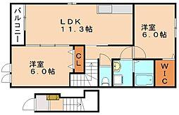 ブローテ松岡B[2階]の間取り