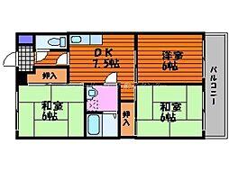 岡山県岡山市北区奥田西町の賃貸マンションの間取り