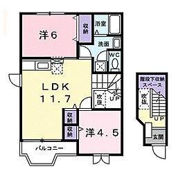 静岡県磐田市刑部島の賃貸アパートの間取り