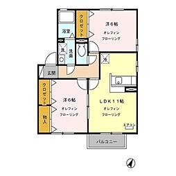長野県千曲市上山田温泉4丁目の賃貸アパートの間取り
