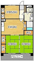 新栄二日市ハイツ[613号室]の間取り