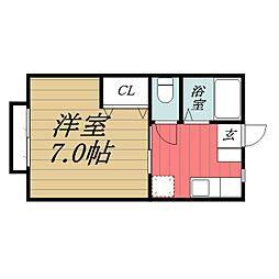 千葉県千葉市緑区おゆみ野2の賃貸アパートの間取り