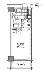 コンフォリア新宿イーストサイドタワー 15階ワンルームの間取り